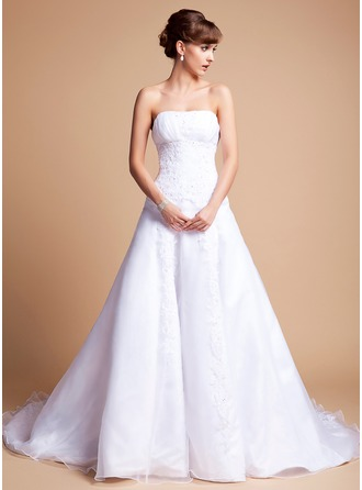 A-Line/Princess Strapless Chapel Train Satin Organza Wedding Dress With Ruffle Lace Beading