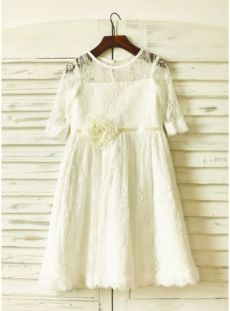 A-Line/Princess Knee-length Flower Girl Dress - Lace 1/2 Sleeves Scoop Neck With Lace/Flower(s)