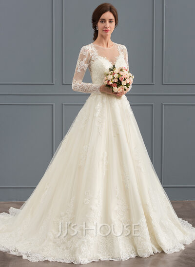 Ball gown scoop neck court train tulle lace wedding dress 002127273 ball gown scoop neck court train tulle lace wedding dress junglespirit Gallery