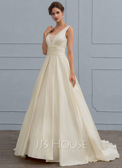 Ball gown v neck sweep train satin wedding dress with lace color as picture junglespirit Image collections