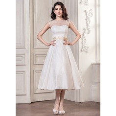 A-Line/Princess Scoop Neck Tea-Length Lace Wedding Dress With Sash Bow(s)