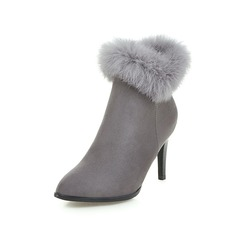 Women's Suede Stiletto Heel Ankle Boots With Zipper Fur shoes