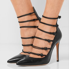 Women's Real Leather Chunky Heel Pumps With Hollow-out Button shoes