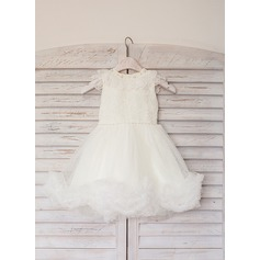 A-Line/Princess Tea-length Flower Girl Dress - Satin/Tulle Short Sleeves Scoop Neck With Lace/Beading