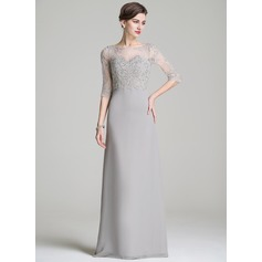 A-Line/Princess Scoop Neck Floor-Length Chiffon Mother of the Bride Dress With Beading Appliques Lace Sequins