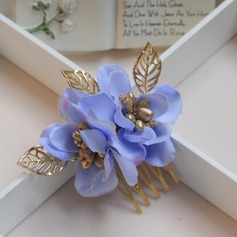 Glamourous Alloy/Silk Flower Combs & Barrettes(Set of 2)
