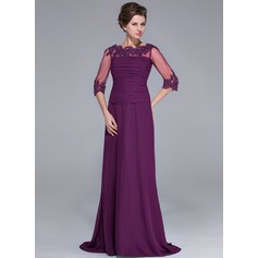 A-Line/Princess Off-the-Shoulder Sweep Train Chiffon Mother of the Bride Dress With Ruffle Lace Beading Sequins