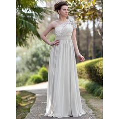 A-Line/Princess One-Shoulder Floor-Length Chiffon Sequined Evening Dress With Ruffle Beading