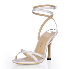 Women's Silk Like Satin Stiletto Heel Sandals Slingbacks With Buckle Rhinestone