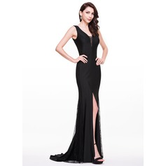 Trumpet/Mermaid V-neck Sweep Train Jersey Evening Dress With Split Front