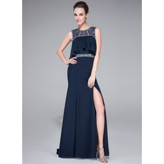 Trumpet/Mermaid Scoop Neck Sweep Train Chiffon Prom Dress With Beading Split Front Cascading Ruffles