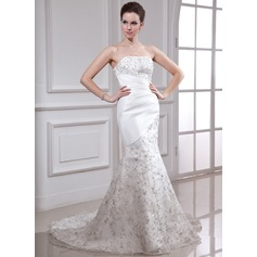Trumpet/Mermaid Strapless Court Train Satin Organza Wedding Dress With Embroidered Beading Sequins