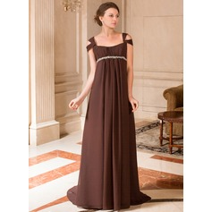 A-Line/Princess Off-the-Shoulder Sweep Train Chiffon Chiffon Maternity Bridesmaid Dress With Ruffle Beading