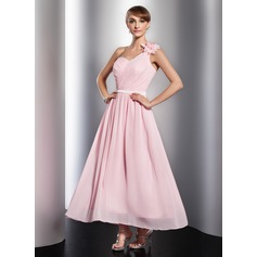 A-Line/Princess One-Shoulder Ankle-Length Chiffon Holiday Dress With Ruffle Flower(s)