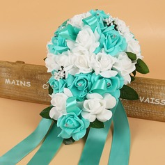 Charming Rosy Foam/Ribbon Bridal Bouquets/Bridesmaid Bouquets -