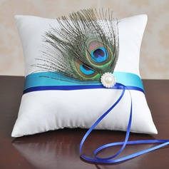 Dreamy Ring Pillow in Satin With Ribbons/Feather