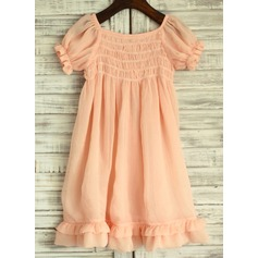 Empire Knee-length Flower Girl Dress - Chiffon Short Sleeves Square Neckline With Ruffles