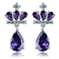 Beautiful Zircon/Platinum Plated Ladies' Earrings (011075139)