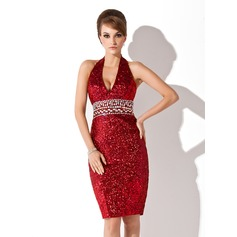Sheath/Column Halter Knee-Length Sequined Cocktail Dress With Beading
