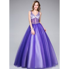 Ball-Gown V-neck Floor-Length Tulle Quinceanera Dress With Beading