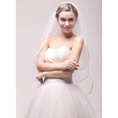 Three-tier Ribbon Edge Fingertip Bridal Veils With Ribbon