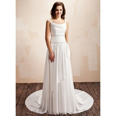 A-Line/Princess Cowl Neck Court Train Chiffon Wedding Dress With Ruffle Beading