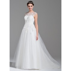Ball-Gown Scoop Neck Sweep Train Tulle Wedding Dress With Beading Appliques Lace Sequins