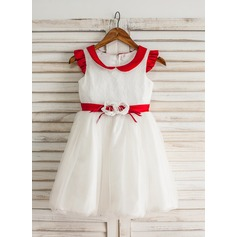 A-Line/Princess Knee-length Flower Girl Dress - Satin/Tulle Short Sleeves Peter Pan Collar With Lace/Sash/Flower(s)