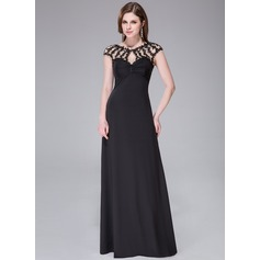 Sheath/Column Scoop Neck Floor-Length Tulle Jersey Evening Dress With Ruffle Beading Appliques Lace Sequins