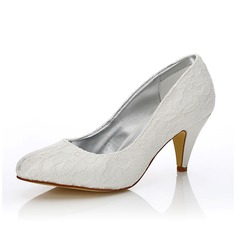 Women's Lace Satin Cone Heel Closed Toe Pumps Dyeable Shoes