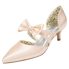 Women's Satin Low Heel Pumps With Bowknot