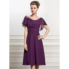 A-Line/Princess Cowl Neck Knee-Length Chiffon Mother of the Bride Dress With Beading Sequins Cascading Ruffles