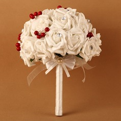 Fascinating Round Satin/PE Bridal Bouquets