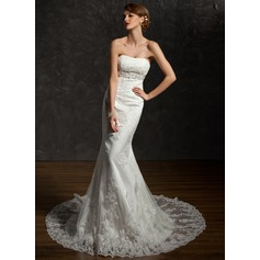 Trumpet/Mermaid Sweetheart Chapel Train Satin Wedding Dress With Beading Sequins Bow(s)