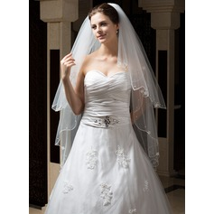 Two-tier Waltz Bridal Veils With Pearl Trim Edge/Scalloped Edge