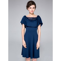 A-Line/Princess Cowl Neck Knee-Length Jersey Mother of the Bride Dress With Lace Beading Sequins Cascading Ruffles