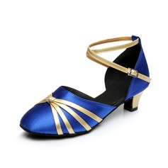 Women's Kids' Satin Heels Sandals Modern With Ankle Strap Dance Shoes