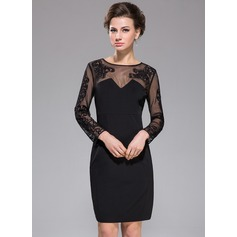 Sheath/Column Scoop Neck Knee-Length Tulle Jersey Cocktail Dress With Lace (016042459)