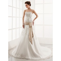 A-Line/Princess Strapless Cathedral Train Organza Wedding Dress With Embroidered Lace Sash