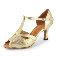 Women's Sparkling Glitter Patent Leather Heels Sandals Latin Ballroom With T-Strap Dance Shoes