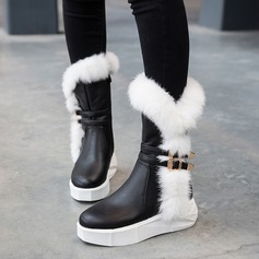 Women's Leatherette Flat Heel Boots Snow Boots With Buckle Fur shoes (088109400)