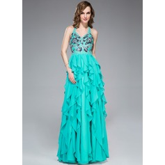 A-Line/Princess V-neck Floor-Length Chiffon Prom Dress With Appliques Lace Sequins Cascading Ruffles
