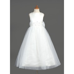 A-Line/Princess Ankle-length Flower Girl Dress - Organza/Satin/Tulle Sleeveless Scoop Neck With Beading/Bow(s)/V Back