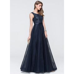 Ball-Gown Scoop Neck Floor-Length Tulle Prom Dress With Lace Beading Sequins