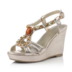 Leatherette Wedge Heel Wedges With Rhinestone shoes (116066473)