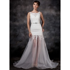 A-Line/Princess Court Train Organza Wedding Dress With Lace Beading Sequins Bow(s)