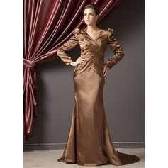 Trumpet/Mermaid V-neck Court Train Charmeuse Mother of the Bride Dress With Ruffle Beading