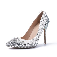 Women's Real Leather Stiletto Heel Closed Toe Pumps With Rhinestone Jewelry Heel