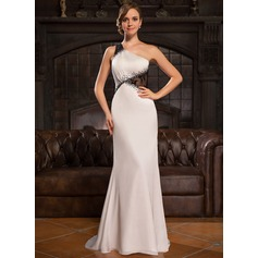 Trumpet/Mermaid One-Shoulder Sweep Train Lace Satin Chiffon Evening Dress With Lace Beading Sequins