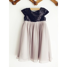 Empire Knee-length Flower Girl Dress - Chiffon/Sequined Short Sleeves Scoop Neck With Sequins